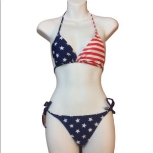 Old Navy American Flag String Bikini, Small